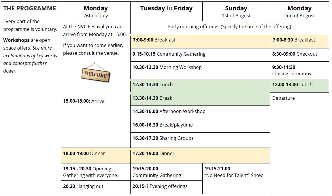 European NVC Summer Festival About NVC Festival Programme 2021